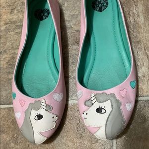 Pink unicorn T.U.K footwear flat shoes!